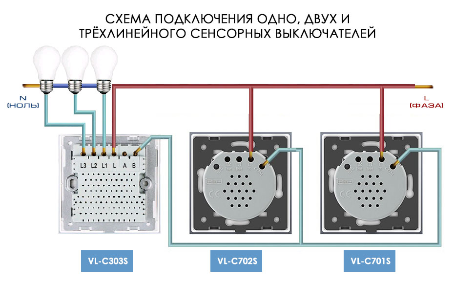 Схема подключения одно, двух и трехлинейного проходных сенсорных выключателей LIVOLO