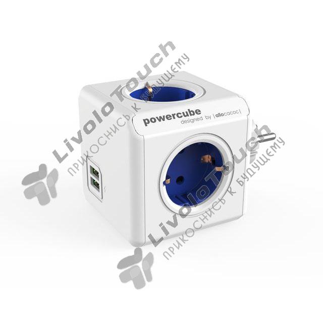Сетевой фильтр PowerCube Original Allocacoc 4 розетки 2 USB Синий 1202