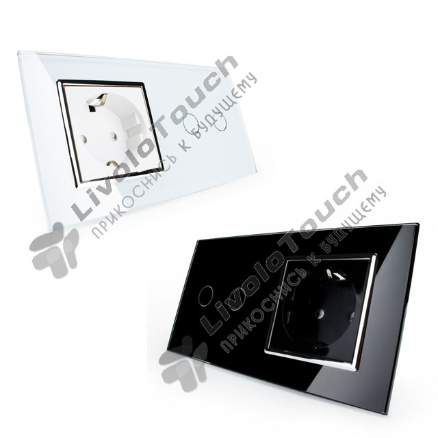 Сенсорный выключатель комбинированный на 2 линии 1 розетка 2 модуля Li